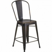 Flash Furniture Metal High Back Counter Stool - 24Inch H Seat, Distressed Copper, Model ET353424COP