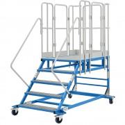 EUROKRAFTpro Plattformtreppe XXL mit Gitterrosteinlagen, Plattformgröße 810 x 1250 mm 5 Stufen