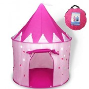 WER Princess Castle Play Tent with Glow in The Dark Stars, Convinientlly Folds to a Carrying Case, Your Kids Will Enjoy This Foldable Pop up Pink Tent/House Toy for Indoor & Outdoor Use