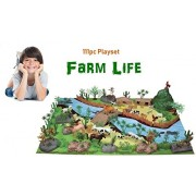 Babytintin Exclusive Animal Play Sets Farm Animals Figures Set for Kids/Young Ones Pack of Animals (Big Size-Farm) (Animal Kingdom - 111 PCS with Play MAT)