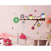 Walltola Pvc Multicolor Lovely Star Owl Family Wall Sticker - 1 Pc