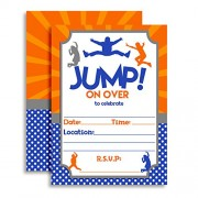 Amanda Creation Jump Zone Bounce And Play Trampoline Park Jumping Birthday Party Invitations, Ten 5X7 Fill In Cards With 10 White Envelopes By Amandacreation