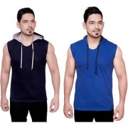 Dudlind Men Clothing Casual Hooded Sleeveless T-Shirts Colour Navy and Blue Regular Fit Pack of 2 | Pack of 2 Casual Shirts for Mens Regular wear and Party wear