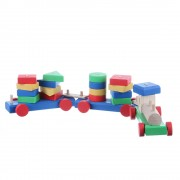 Jucarie din lemn colorat trenulet cu 3 vagoane si piese geometrice
