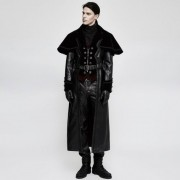 Punk Rave Untill Morning Washed Leather Long Coat Black Y-815