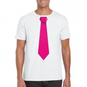 Shoppartners Wit t-shirt met roze stropdas heren