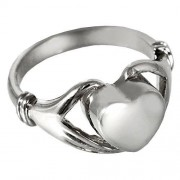 Memorial Gallery 2002s-7 Heart Ring Sterling Silver Cremation Pet Jewelry, Size 7