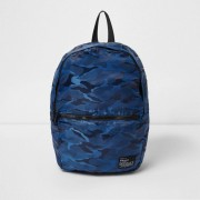 River Island Mens Blue camo print packable backpack