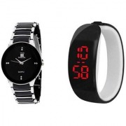 IIk Collection SilverBlack Men And Black Led Kada Women Couple Analog Watches For Men And Women