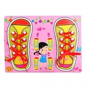 Meliya Tying Shoelaces Training Learning Activity - Learn to Tie Your Wooden Educational Puzzle Board Toy for Girls