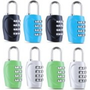 DOCOSS Set Of 8-4 Digit Small Bag Brass Locks Travel Luggage Resettable Combination Password Safety Lock(Multicolor)