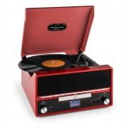Auna RTT 1922 Aparelhagem Estéreo Revivalista MP3 CD USB FM AUX Função de Gravação - vermelho
