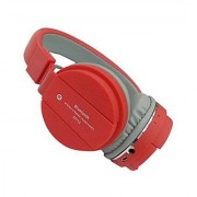 Vinimox SH-12 Wireless/Bluetooth Headphone with FM and SD Card Slot with Music and Calling Controls (Red)
