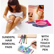Sundepil Painless Hair Shaver Remover Epilator Tool with 2 Pcs Touch Stylus Pen