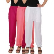 Culture the Dignity Women's Rayon Solid Casual Pants Office Trousers With Side Pockets Combo of 3 - Magenta - Baby Pink - White - C_RPT_M1P2W - Pack of 3 - Free Size