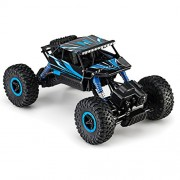 Remote Radio Control 4WD Off-Road Monster Crawler, Rock & Pebble Climber, with 2.4Ghz, Electric Fast Racing Hobby Car by Toydaloo (Blue)