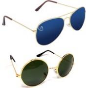 Aventus Aviator, Round Sunglasses(Blue, Green)