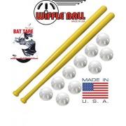 Wiffle Ball and Bat Combo Set, 10 Wiffle Balls Baseballs, 2 Bats, 1 Roll Bat Tape