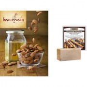 Pure and Natural American Almond Oil - 250ml with Argussy Cinnamon and Black Sesame Whitening Spa Soap