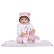 NPK Collection Lifelike Girl Baby Doll Full Silicone 23inch 57cm Vinyl Reborn Victoria Dolls Pink Suit Real Touch Babies Kids Playmate Gift