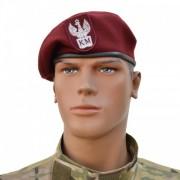 """Beret szyty wojskowy bordowy """"Klasa Mundurowa"""" z orzełkiem"""
