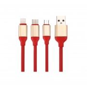 1.2m 2a 3 En 1 Tipo C Y 8 Pin Y Micro Usb A Usb 2.0 Cable Cargador Para El Iphone, Ipad, Samsung, Nokia Y Otros Telefonos Inteligentes (rojo)