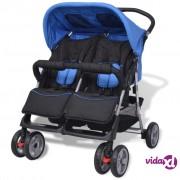 vidaXL Dječja kolica za blizance čelična plavo-crna