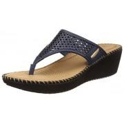 Dr. Scholls Women's Laser Wedge Blue Leather Slippers - 7 UK/India (40 EU)(6749916)