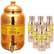 Taluka Pure Copper Handmade Water Pot Tank Matka Dispenser 2000 ML Capacity with Set 6 Copper Bottle Water Bottle Joint free - Leak Proof Bottle 1000 ML Each For Kitchen Good Health Benefit