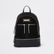 River Island Womens Black zip bottom backpack (One Size)