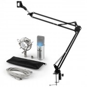 MIC-900S-LED Set Microfono USB V3 Microfono A Condensatore + Braccio Argento