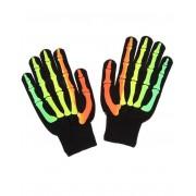 Svarta Handskar med Färgat Skelettfinger
