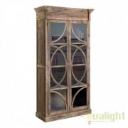 Vitrina design vintage din lemn de pin reciclat VICHY 21387 VH