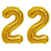 De-Ultimate Solid Golden Color 2 Digit Number (22) 3d Foil Balloon for Birthday Celebration Anniversary Parties