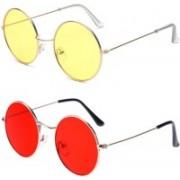MR.KING Retro Square, Oval Sunglasses(Red, Yellow)