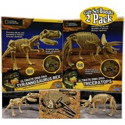 Uncle Milton National Geographic Ultimate Dino Digs Excavation Kits Tyrannosaurus Rex (T-Rex) & Triceratops Gift Set Bundle - 2 Pack