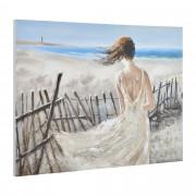 [art.work] Eredeti kézzel festett fali kép - festmény – hölgy a tengerparton - lenvászon ékelt kerettel