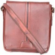 MASKINO Sophisticated 100%Genuine Leather Brown Laptop slingbag (SB001) by Maskino Leathers Waterproof Shoulder Bag(Brown, 12 inch)