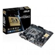 Дънна платка Asus H110M-D, H110, LGA1151, DDR4, PCI-Е (HDMI&VGA), 4x SATA 6.0 Gb/s, 4x USB 3.0, 6x USB 2.0/1.1, LAN, micro-ATX