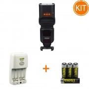 Kit Blit Yongnuo YN968N II Nikon + Bonus Incarcator Maha MH-C204 si set 4 acumulatori 2700mAh Maha Powerex