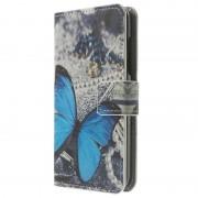 Capa de Pele tipo Carteira para Nokia Lumia 630, Lumia 630 Dual Sim - Borboleta Azul
