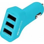 Incarcator Auto Boompods 4.8A Trio Power 3xUSB led indicator incarcare rapida Albastru