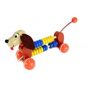 Handcrafted Wooden Push and Pull Along Dog with Counting Beads - Bolt (Made In Europe)