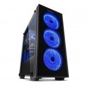 Caja Ordenador Gaming Nox Hummer Tg Fan Blue ATX , USB 3.0, Sin Fuente