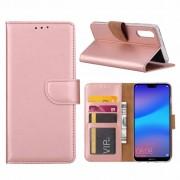 Luxe Lederen Bookcase hoesje voor de Huawei P20 - Metallic Roze