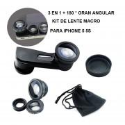 3 En 1 180 ° Ojo De Pez Fisheye + Gran Angular + Kit De Lente Macro Para IPhone 5 5s