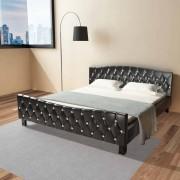 vidaXL Estrutura de cama, couro artificial, 180x200 cm preto