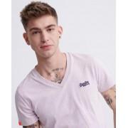 Superdry Vintage T-Shirt mit V-Ausschnitt aus Bio-Baumwolle aus der Orang XXL pink