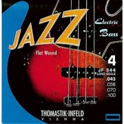 Thomastik-Infeld JF344 Bass Guitar Strings: Jazz Flat Wounds 4-String Long Scale Set; Pure Nickel Flats G D A E Set