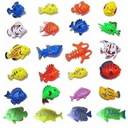 24 Pieces Colorful Large Tropical Fish Magnetic Floating Fishing Toy 7-13cm Bath Toys for Kids Durable Plastic Fishes